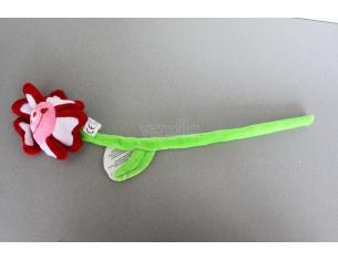 Peluche a forma di fiore bianco, rosso e rosa con stelo pieghevole