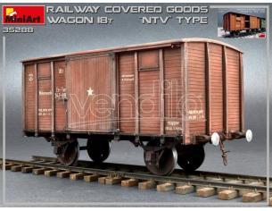 Miniart MIN35288 RAILWAY COVERED GOODS WAGON 18 t NTV-TYPE KIT 1:35 Modellino