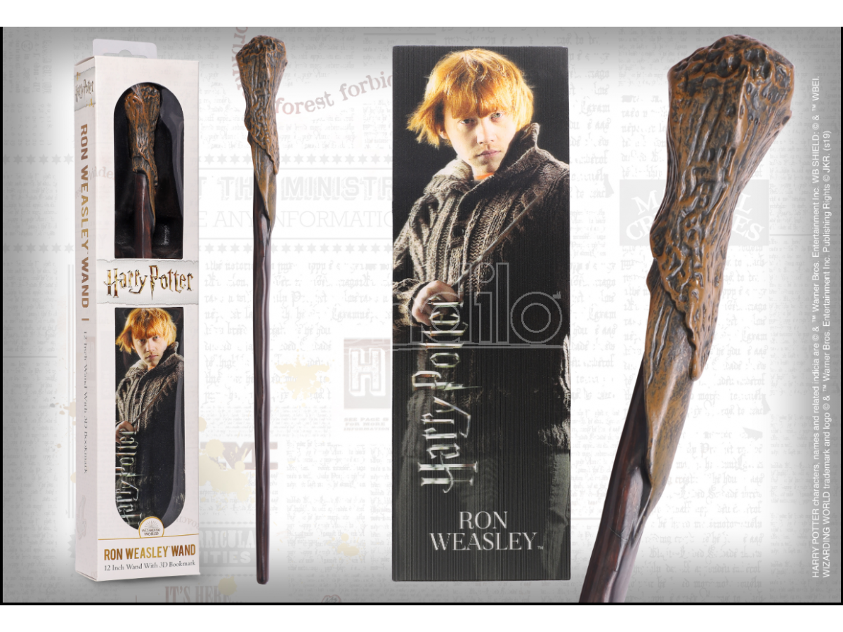 Harry Potter Bacchetta Magica PVC Ron Weasley 30cm + Segnalibro Noble Collection
