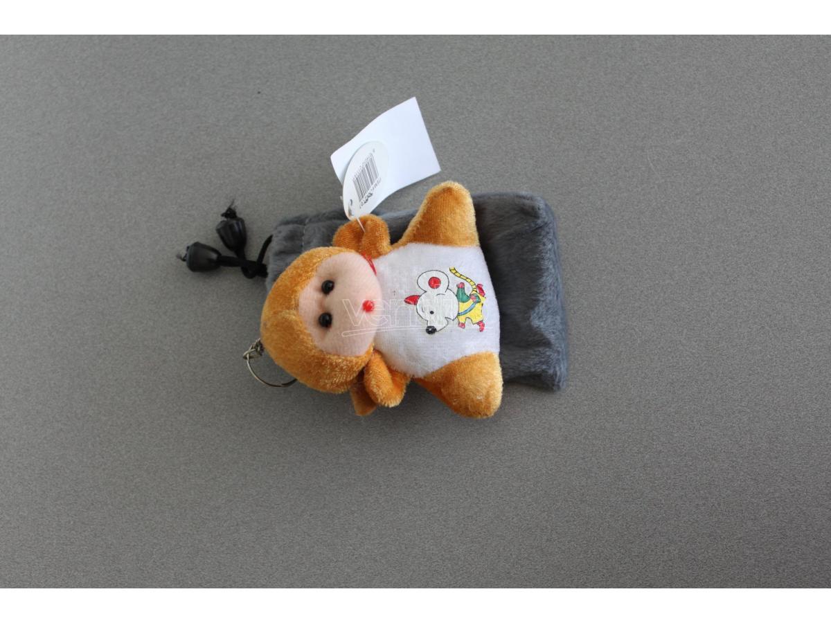 Sacchetto grigio Portacellulare con orsetto marrone peluche e topino disegnato
