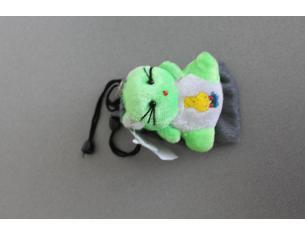 Sacchetto grigio Portacellulare con gattino verde peluche