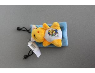 Sacchetto azzurro Portacellulare con gattino arancione peluche e orsetto disegnato