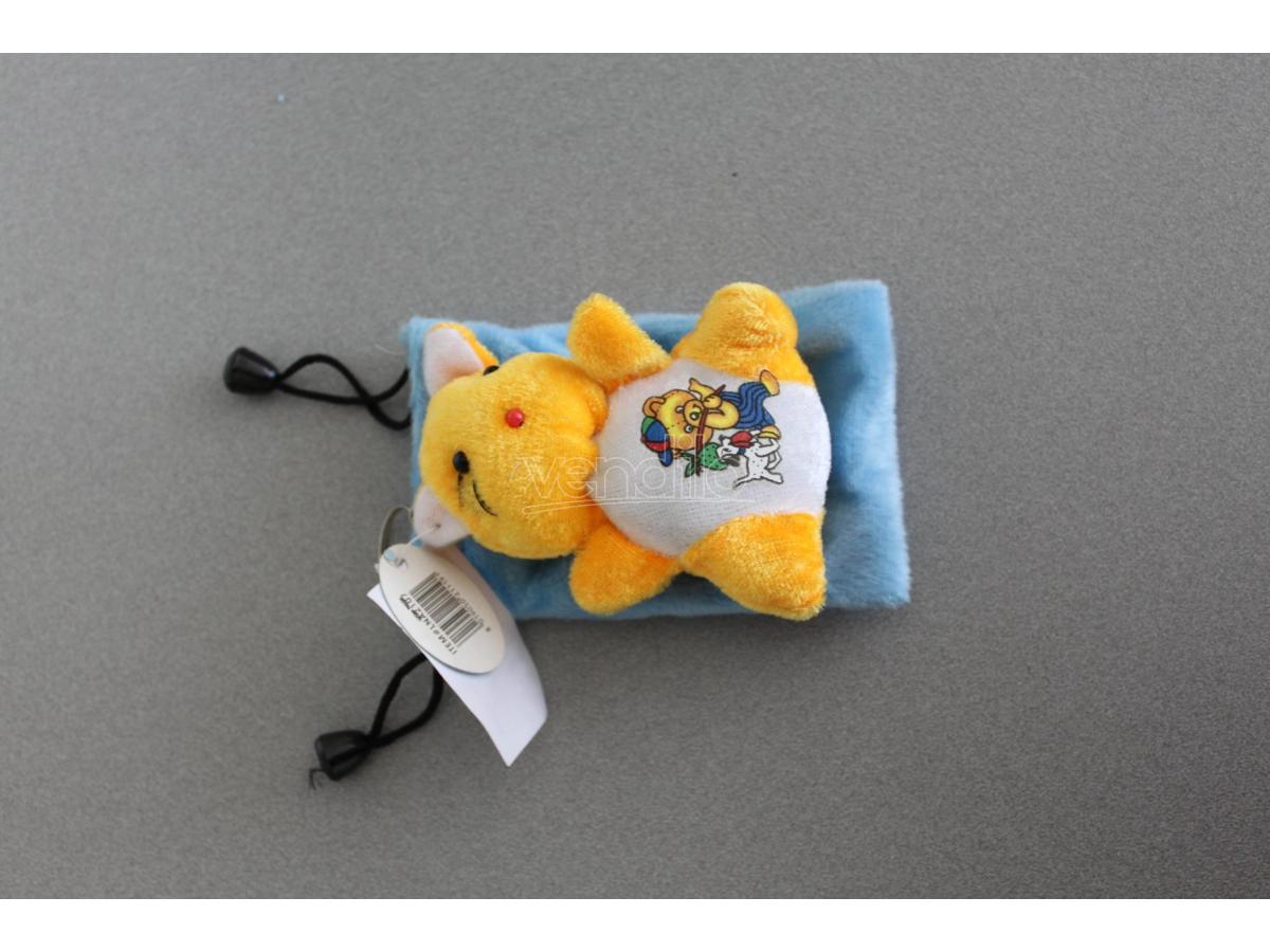 Sacchetto azzurro Portacellulare con gattino arancio peluche e orsetto disegnato