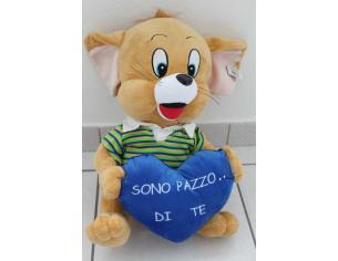 TOBIA'S GIOCHI - Peluche Topolino con cuore 'Sono Pazzo di Te' 45cm