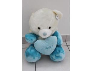 Peticoco - Peluche Orso bianco con cappuccio bianco azzurro e cuore 40cm