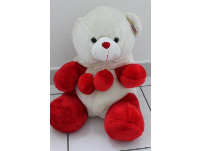 Peticoco - Peluche Orso bianco con cappuccio bianco rosso 40cm
