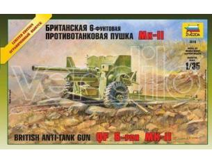 ZVEZDA 3518 BRITISH ANTI - TANK GUN QF 6 PDR 1/35 KIT DI MONTAGGIO Modellino