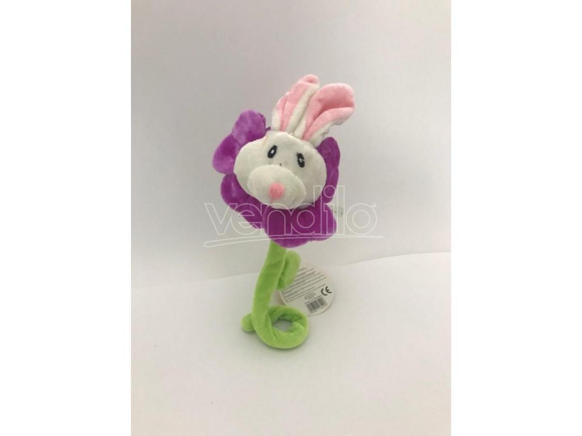 Peluche fiore viola con muso del coniglio e canzoncina 'Tanti Auguri' 35cm