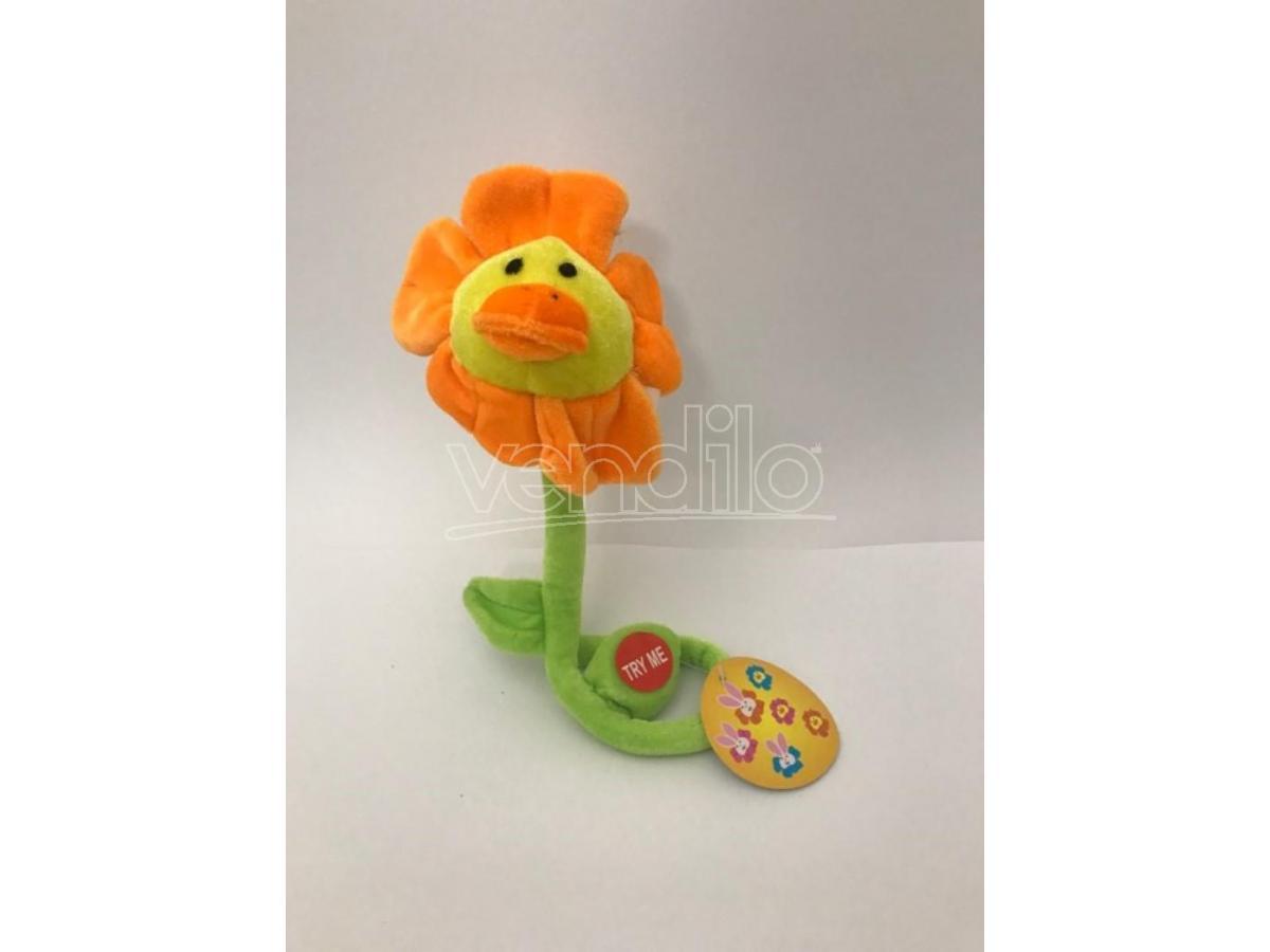 Peluche fiore arancio con muso della papera e canzoncina 'Tanti Auguri' 35cm