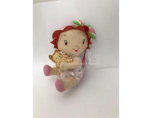 Peluche Bambola Strawberry  con orsetto in mano 25 cm