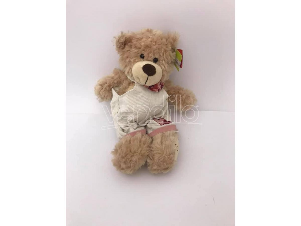 PLAYTIME - Peluche Orso con salopette bianca e cuore disegnato 30 cm circa