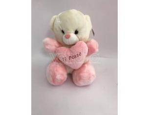 """Peluche Orsetto Bianco/Rosa Trasformabile Pansa """"Ti penso"""" 30 cm"""