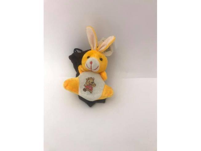Sacchetto marrone Portacellulare con coniglio arancio peluche e orso disegnato