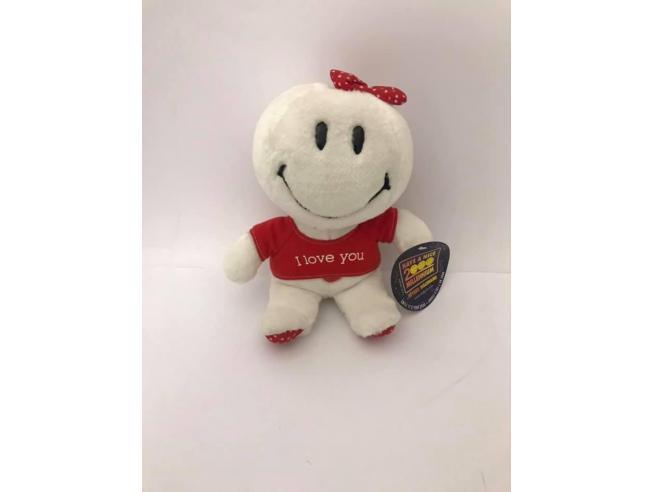 Peluche Faccina bianca con maglia scritta 'I Love You' 20 cm