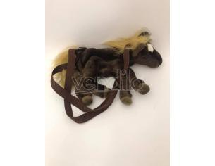 Sacca peluche cavallo marrone con criniera e coda gialli