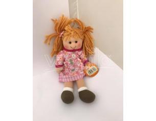 Bambola di pezza con vestitino rosa 25 cm circa