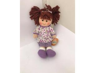 Bambola di pezza con vestitino viola 25 cm circa
