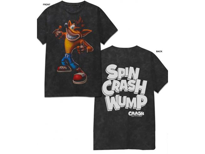 Crash Bandicoot T-shirt con Scritta Spin Crash Wump Taglia S