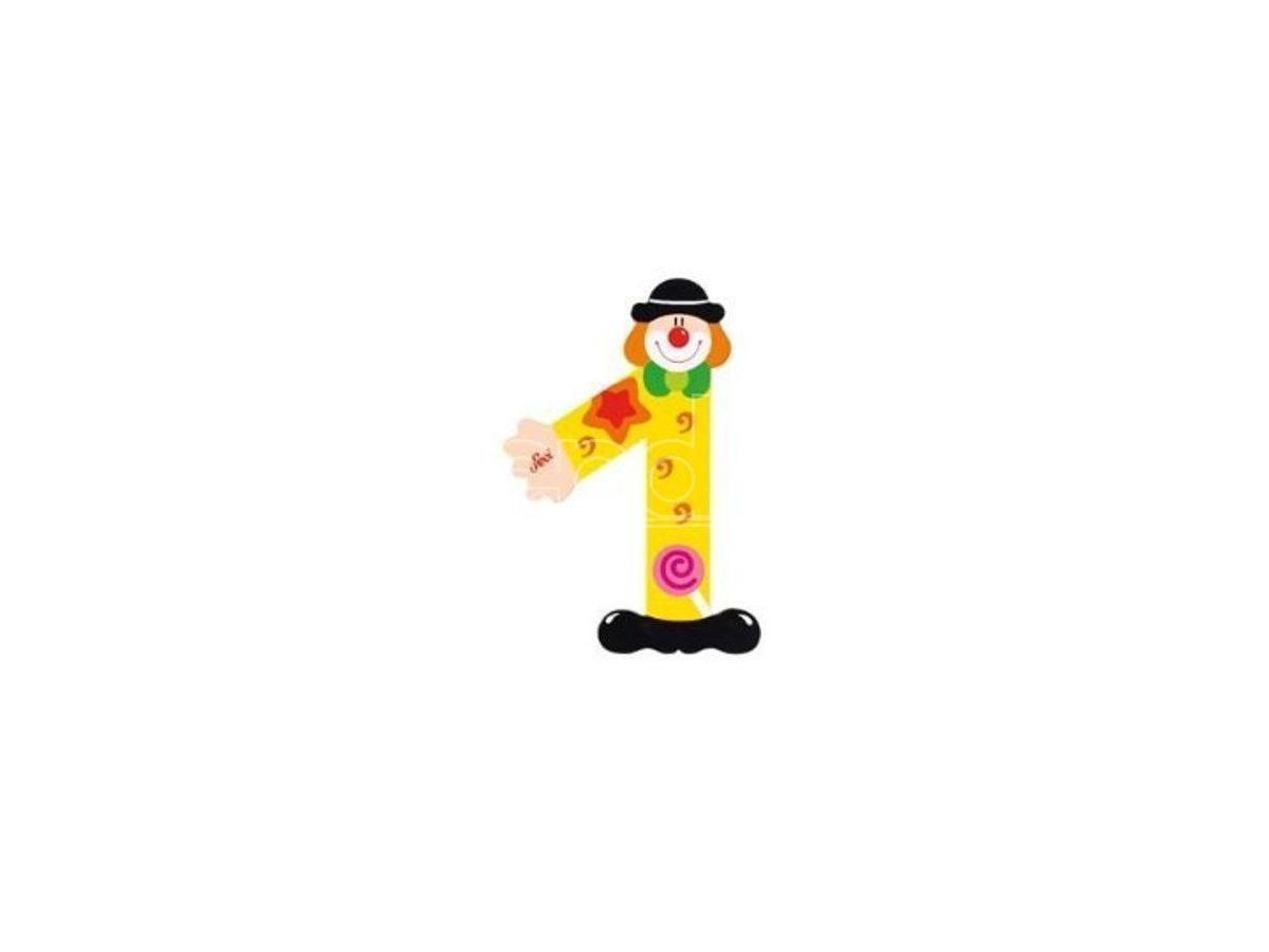 Trudi Sevi 82211 - Numero 1 in legno a forma di Clown 9,5 cm Decorazione