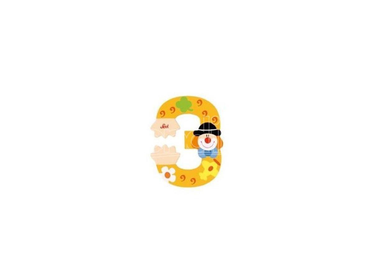 Trudi Sevi 82213 - Numero 3 in legno a forma di Clown 8 cm Decorazione