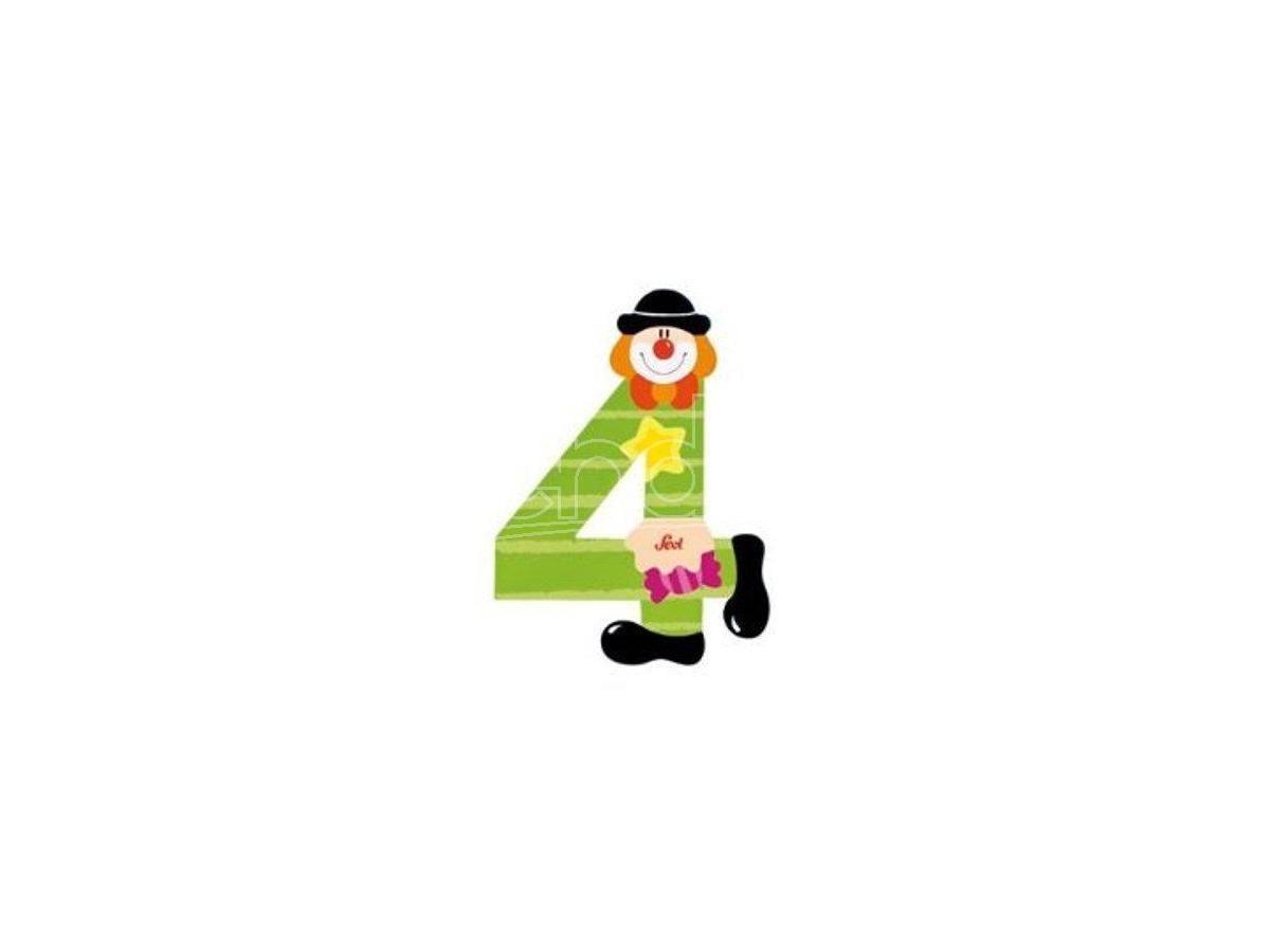 Trudi Sevi 82214 - Numero 4 in legno a forma di Clown 9,5 cm Decorazione