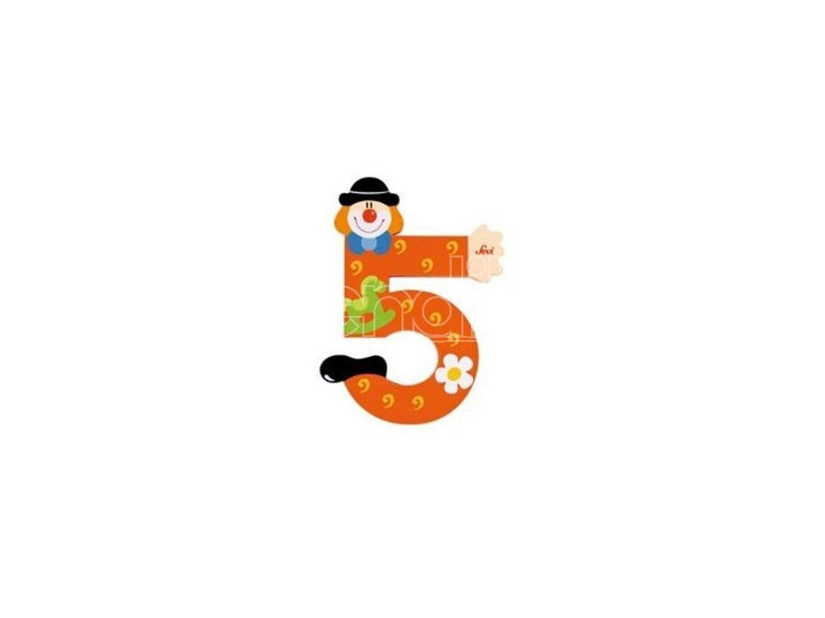 Trudi Sevi 82215 - Numero 5 in legno a forma di Clown 9,5 cm Decorazione