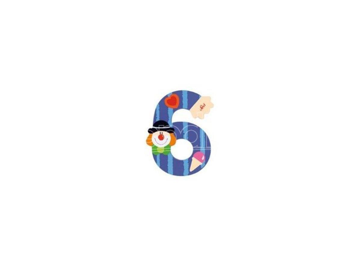 Trudi Sevi 82216 - Numero 6 in legno a forma di Clown 8 cm Decorazione