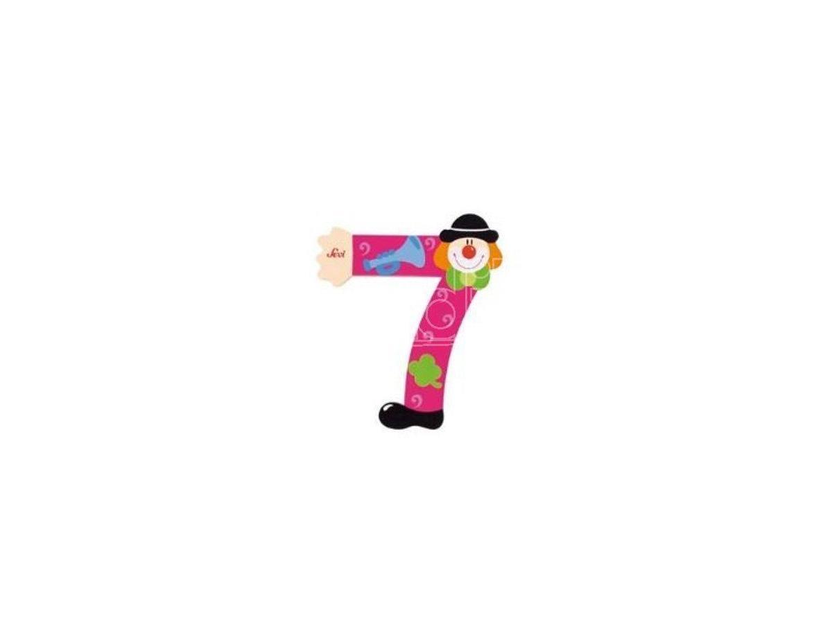 Trudi Sevi 82217 - Numero 7 in legno a forma di Clown 9 cm Decorazione