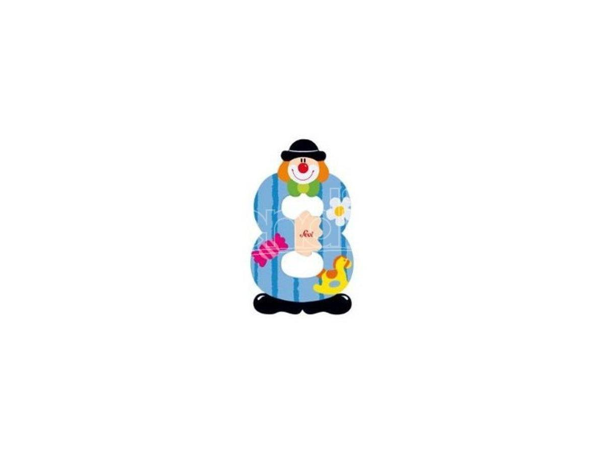 Trudi Sevi 82218 - Numero 8 in legno a forma di Clown 9,5 cm Decorazione