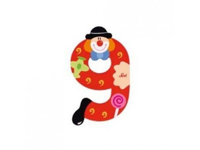 Trudi Sevi 82219 - Numero 9 in legno a forma di Clown 9 cm Decorazione