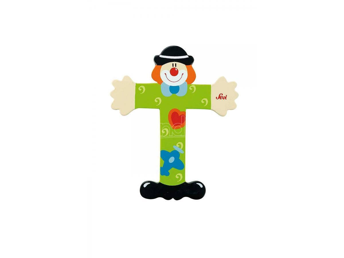 Trudi Sevi 81756 - Lettera T in legno a forma di Clown Verde 9,5 cm Decorazione