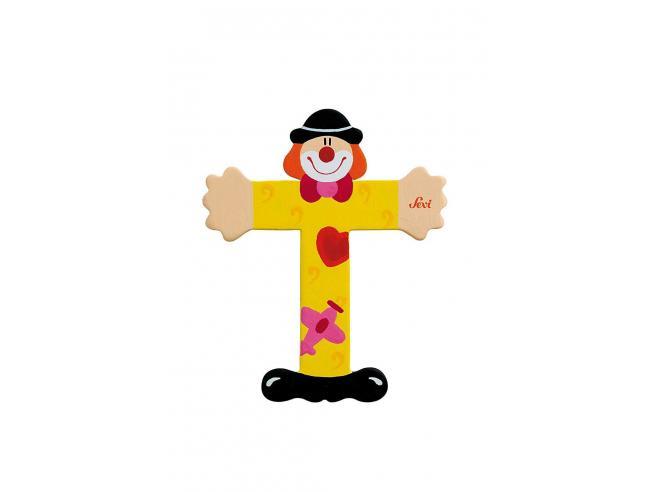 Trudi Sevi 81756 - Lettera T in legno a forma di Clown Giallo 9,5 cm Decorazione