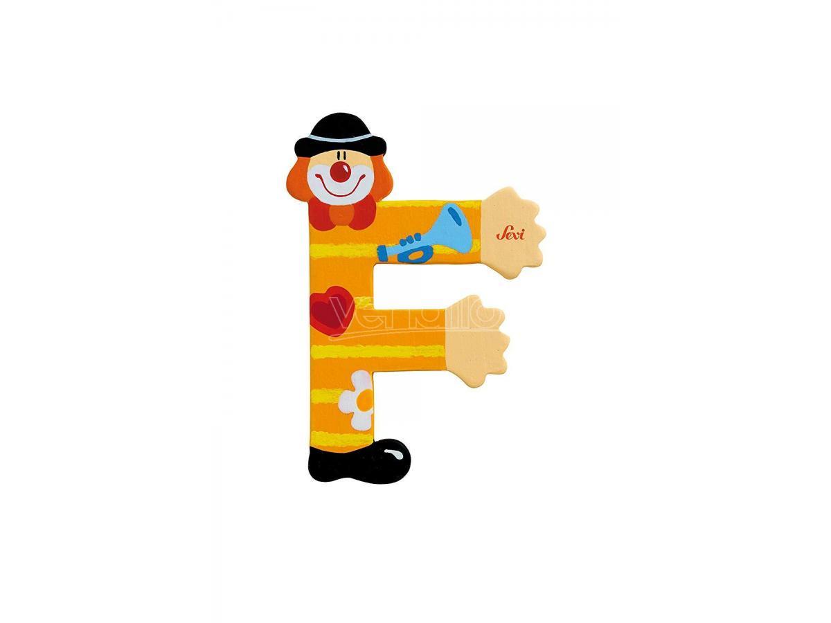 Trudi Sevi 81742 - Lettera F in legno a forma di Clown Giallo 9,5 cm Decorazione