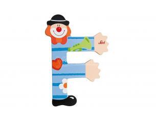 Trudi Sevi 81742 - Letteraa F In Legno A Forma Di Clown Blu 9,5 Cm Decorazione