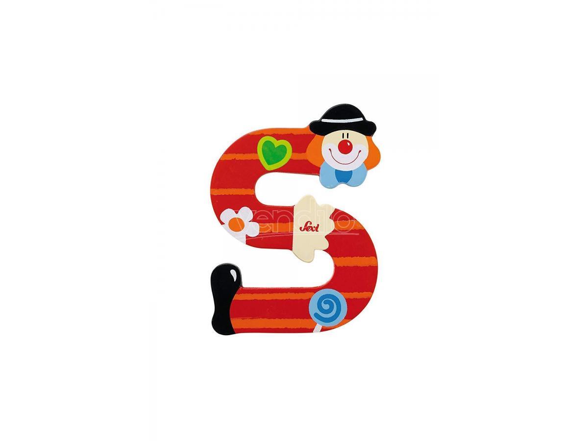 Trudi Sevi 81755 - Lettera S in legno a forma di Clown Rosso 8 cm Decorazione