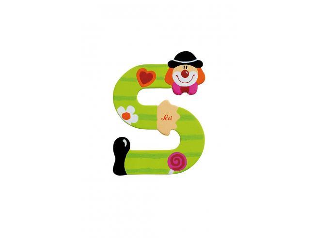 Trudi Sevi 81755 - Lettera S in legno a forma di Clown Verde 8 cm Decorazione