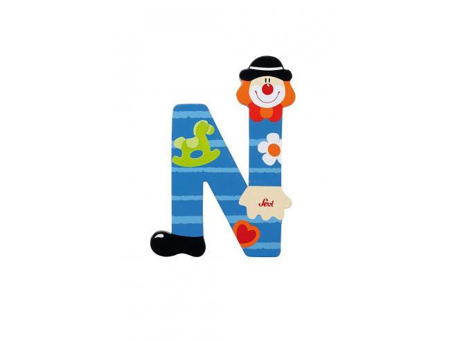 Trudi Sevi 81750 - Letteraa N In Legno A Forma Di Clown Blu 9,5 Cm Decorazione