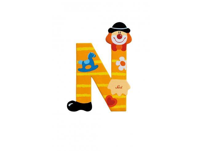 Trudi Sevi 81750 - Lettera N in legno a forma di Clown Giallo 9,5 cm Decorazione