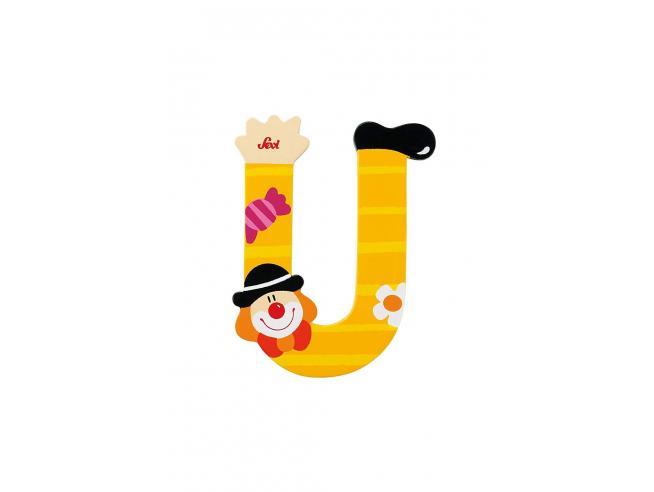 Trudi Sevi 81757 - Lettera U in legno a forma di Clown Giallo 8,5 cm Decorazione