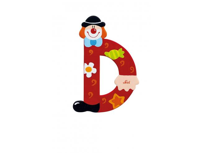 Trudi Sevi 81740 - Lettera D in legno a forma di Clown Rosso 9,5 cm Decorazione