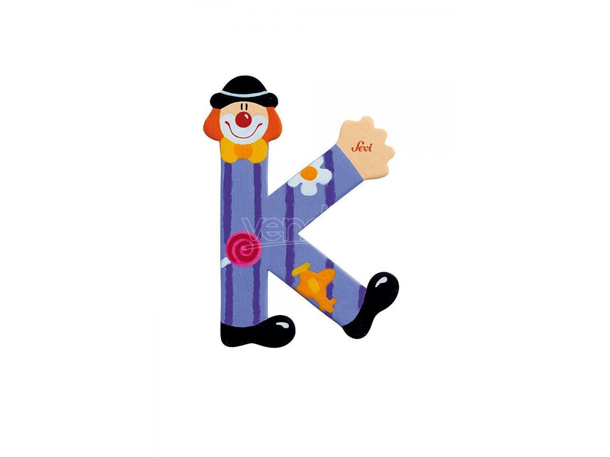 Trudi Sevi 81747 - Lettera K in legno a forma di Clown Viola 8 cm Decorazione