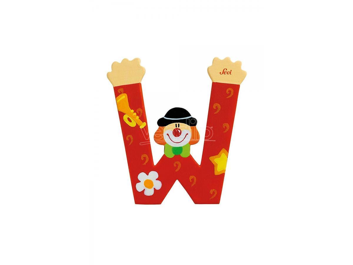 Trudi Sevi 81759 - Letteraa W In Legno A Forma Di Clown Rosso 9,5 Cm Decorazione