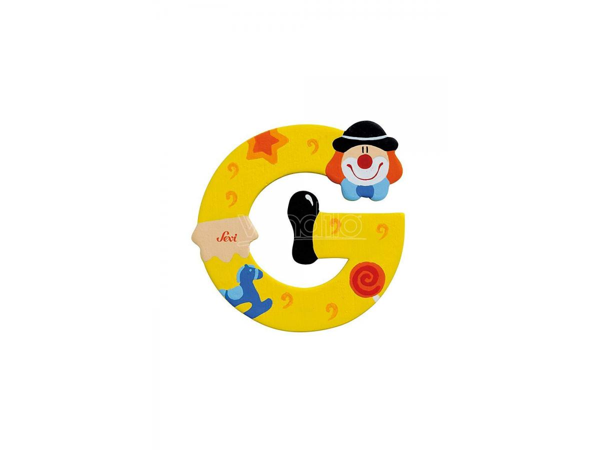 Trudi Sevi 81743 - Lettera G in legno a forma di Clown Giallo 8 cm Decorazione