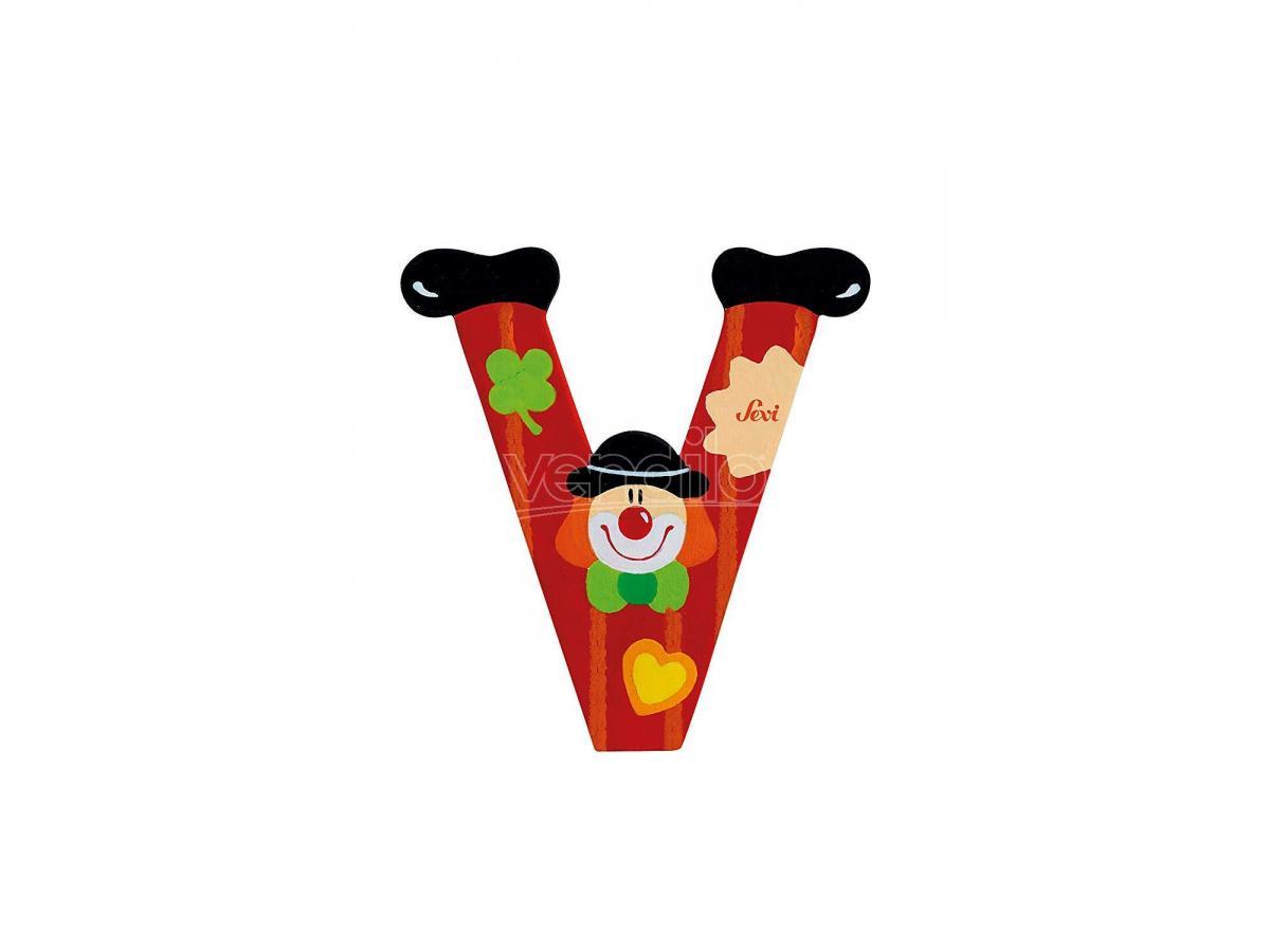 Trudi Sevi 81758 - Letteraa V In Legno A Forma Di Clown Rosso 9 Cm Decorazione