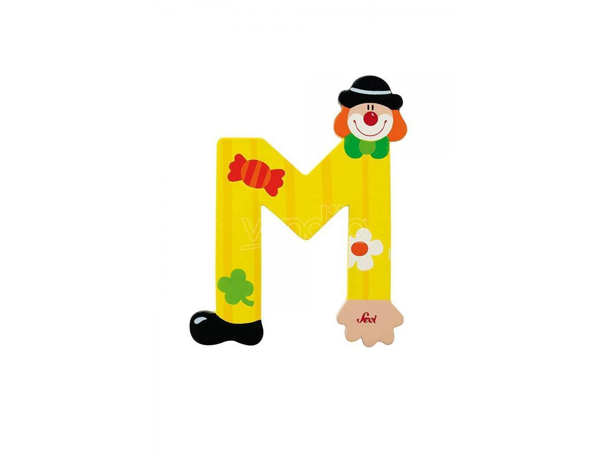 Trudi Sevi 81749 - Lettera M in legno a forma di Clown Giallo 9,5 cm Decorazione