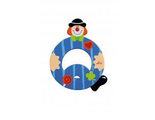 Trudi Sevi 81753 - Lettera Q in legno a forma di Clown Blu 9,5 cm Decorazione