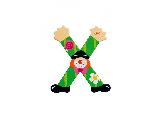 Trudi Sevi 81760 - Letteraa X In Legno A Forma Di Clown Verde 9,5 Cm Decorazione