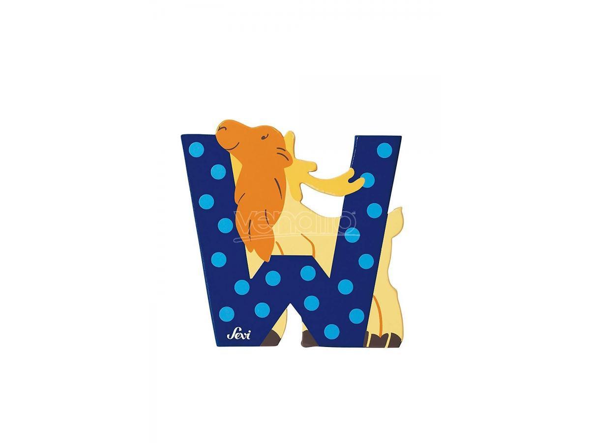 Trudi Sevi 81623 - Lettera W Wapiti in legno Blu 7,5 cm Decorazione