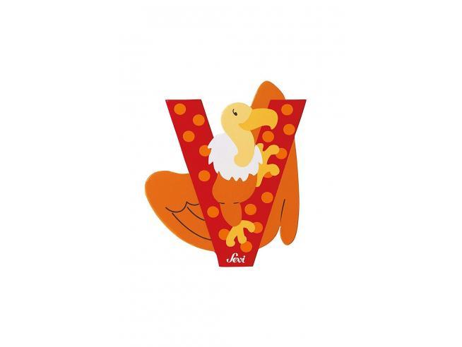 Trudi Sevi 81622 - Lettera V Vulture in legno Rosso 7,5 cm Decorazione