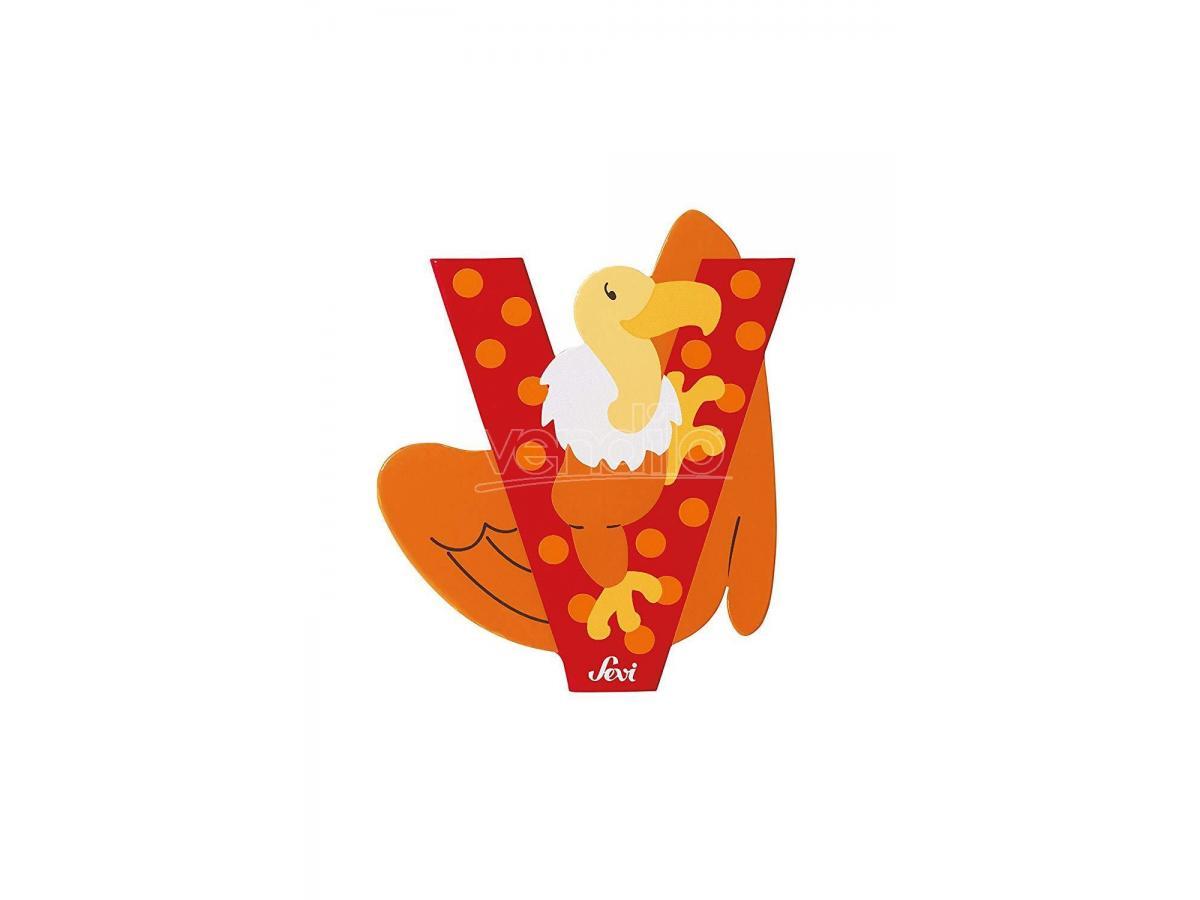 Trudi Sevi 81622 - Letteraa V Vulture In Legno Rosso 7,5 Cm Decorazione